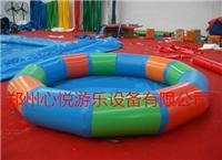 彩色圆形充气摸鱼池/充气钓鱼池子 儿童室外圆形充气沙滩池子价格