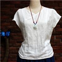中式棉麻女装亚麻提花长后摆修身衬衫上衣
