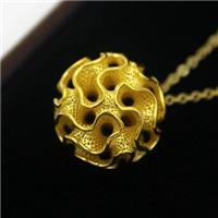 e键打印直销 潘朵拉小球K金吊坠 3D打印个性化定制饰品
