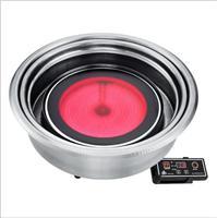赛菱自助涮烤 商用上排烟圆形线控电烤炉 韩式自动电热烧烤炉