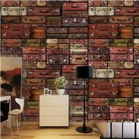 艺术旧皮箱壁画 酒吧ktv包间墙纸 餐厅书房壁纸定制