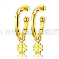 925纯银饰品 镀黄金时尚耳饰 女式耳环 广州银饰厂家定制
