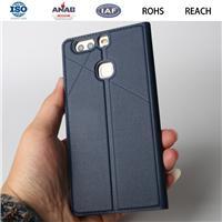 广东惠州手机保护套华为P9PLUS带插卡支架纯色仿皮商务新款厂家定制