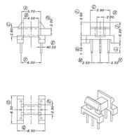 EE8.3 骨架卧式单槽3+3针 YT-0802