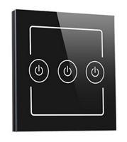 廠家** 智能燈光控制器 照明開關三位 鋼化玻璃觸控面板