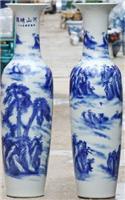 青花瓷大花瓶销售 西安开业花瓶厂家 陶瓷礼品迎客松花瓶