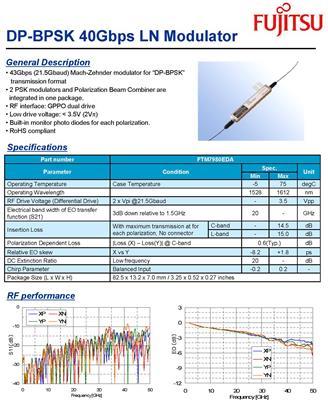 電光調制器 鈮酸鋰調制器  FTM7980