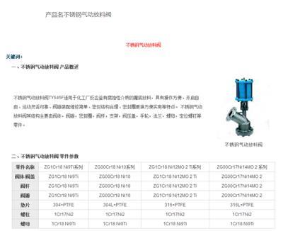 廠家**沈高閥門云南總代理TY645F不銹鋼氣動放料閥