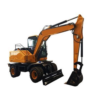 路面工程輪式挖掘機 85式360旋轉抓木機  多功能四驅膠輪挖掘機 市政綠化工程皮輪式鉤機