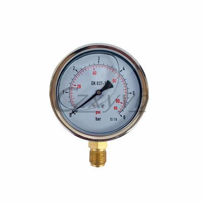耐震充油不銹鋼表殼船用壓力表YN60/75/100