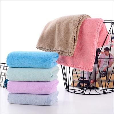 珊瑚绒毛巾柔软吸水不掉毛擦头发速干成人家用洗脸毛巾批发代发