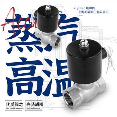 2L不锈钢电磁阀220V24V内螺纹耐高温蒸汽常闭4分6分1寸2寸