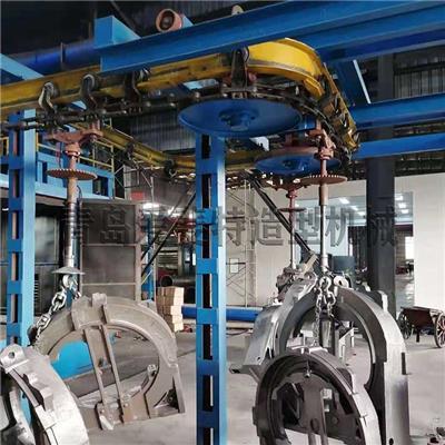 青島拋丸機廠家懸鏈步進式拋丸機 吊掛通過式噴砂機